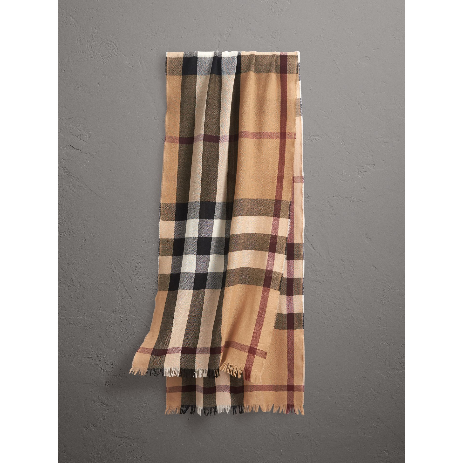 Lightweight Check Wool Cashmere Scarf in Camel | Burberry Australia - gallery image 1
