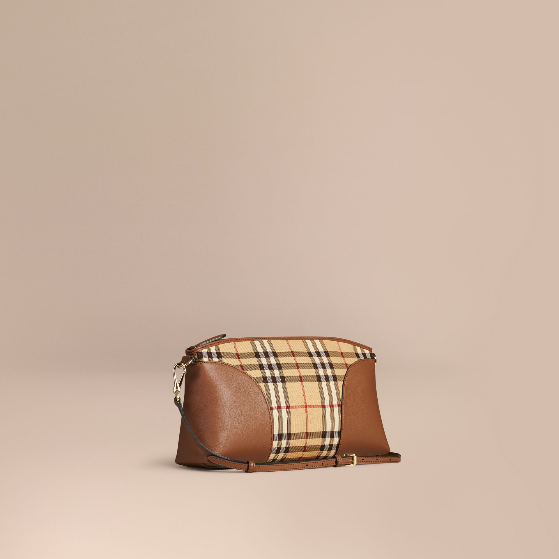 Horseferry Check and Leather Clutch Bag Honey/tan - gallery image 1