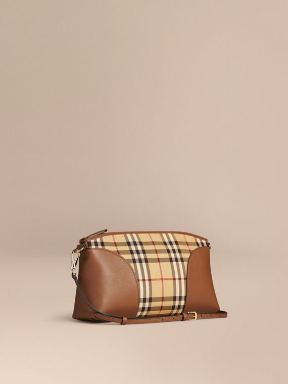 Horseferry Check and Leather Clutch Bag Honey/tan