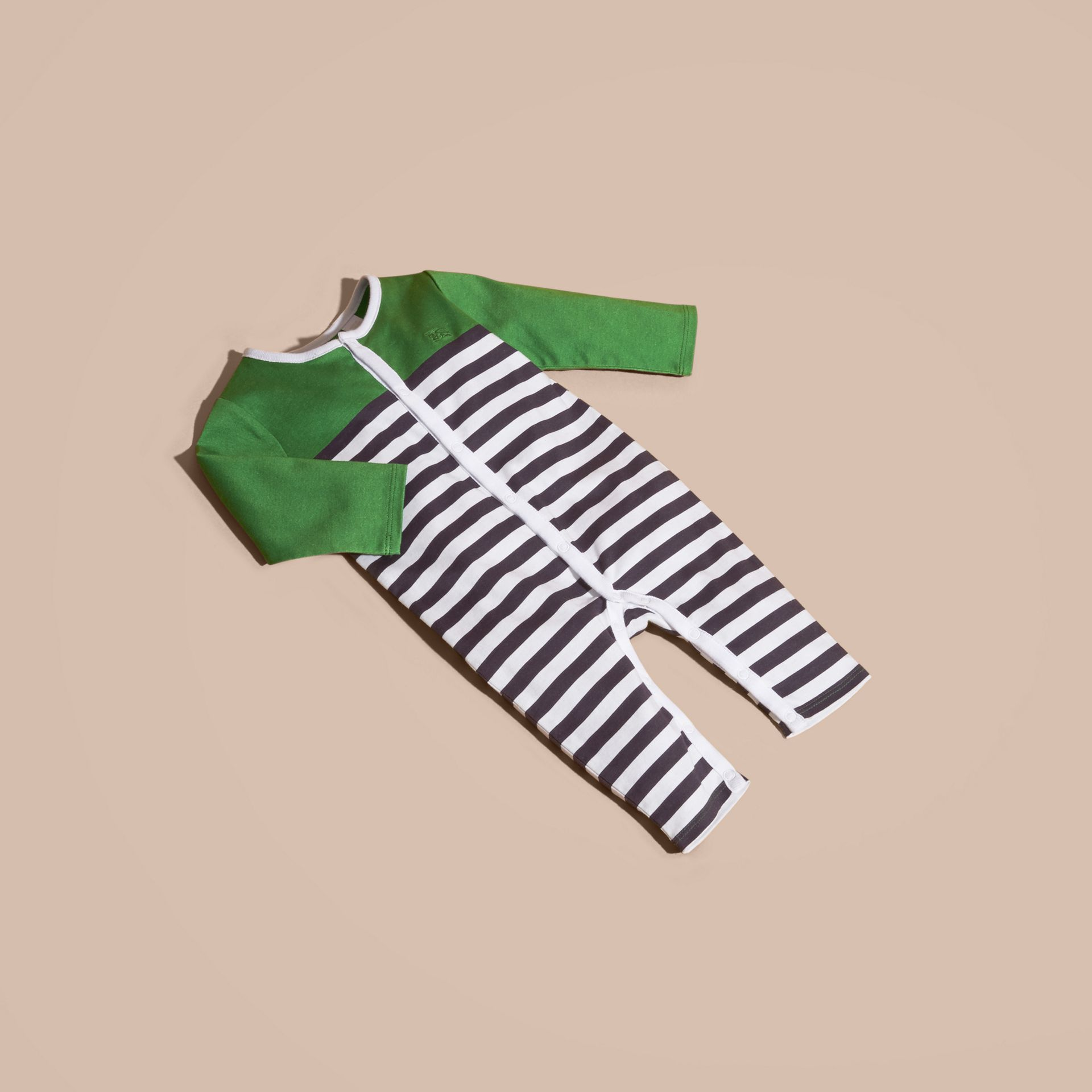 Bright fern green Colour Block Striped Cotton Jumpsuit - gallery image 5