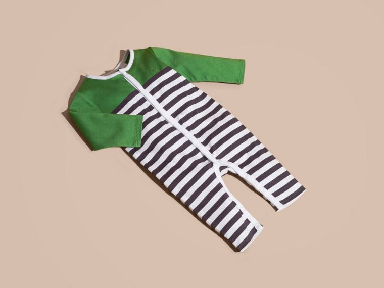 Bright fern green Colour Block Striped Cotton Jumpsuit - cell image 4