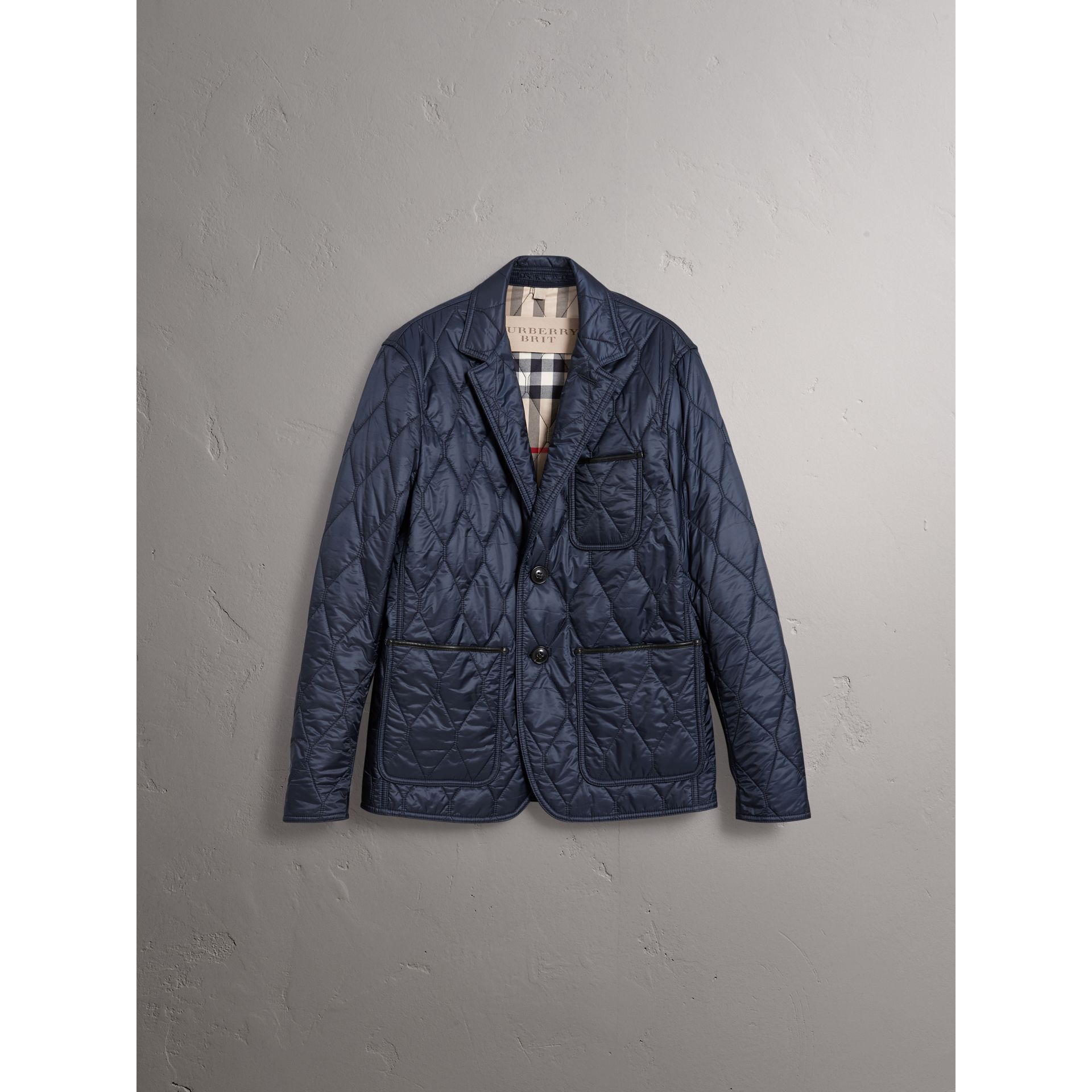Lambskin Trim Quilted Blazer in Navy - Men | Burberry Australia - gallery image 3