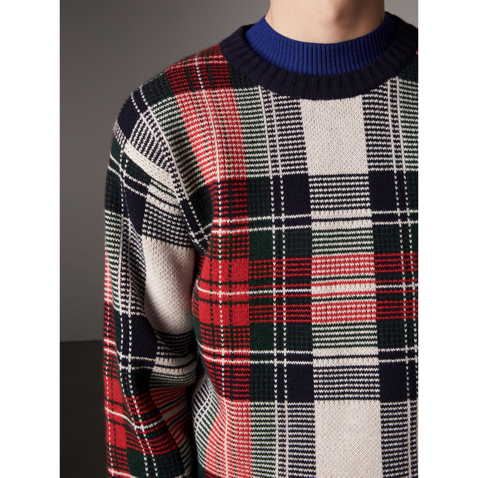 Tartan Cashmere Wool Sweater in Natural White - Men | Burberry - gallery image 4