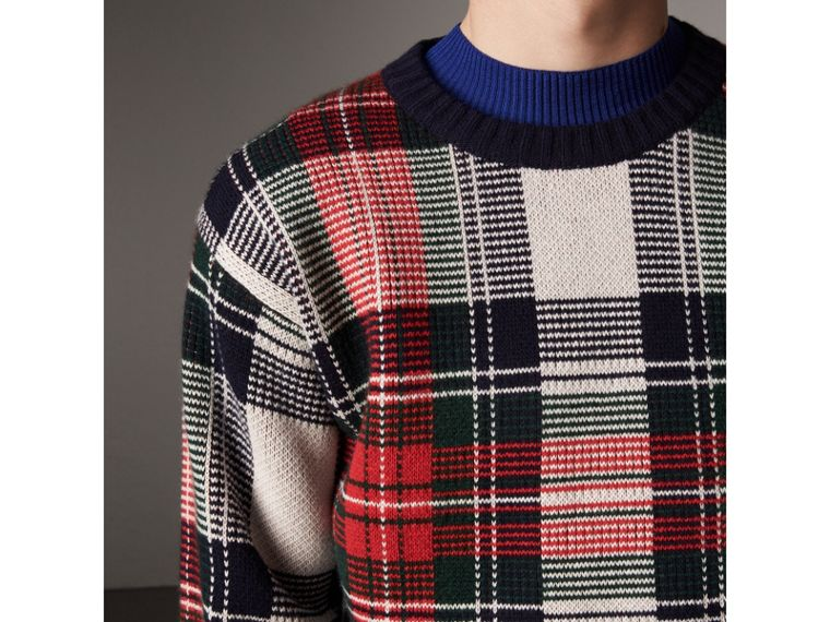 Tartan Cashmere Wool Sweater in Natural White - Men | Burberry - cell image 4