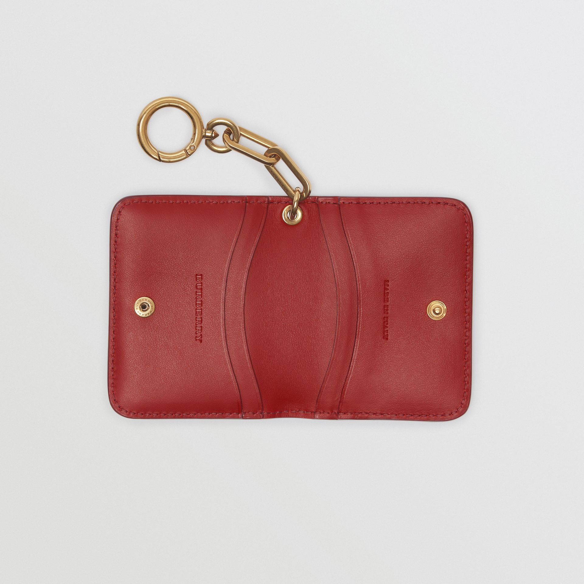 Link Detail Patent Leather ID Card Case Charm in Crimson - Women | Burberry United States - gallery image 3