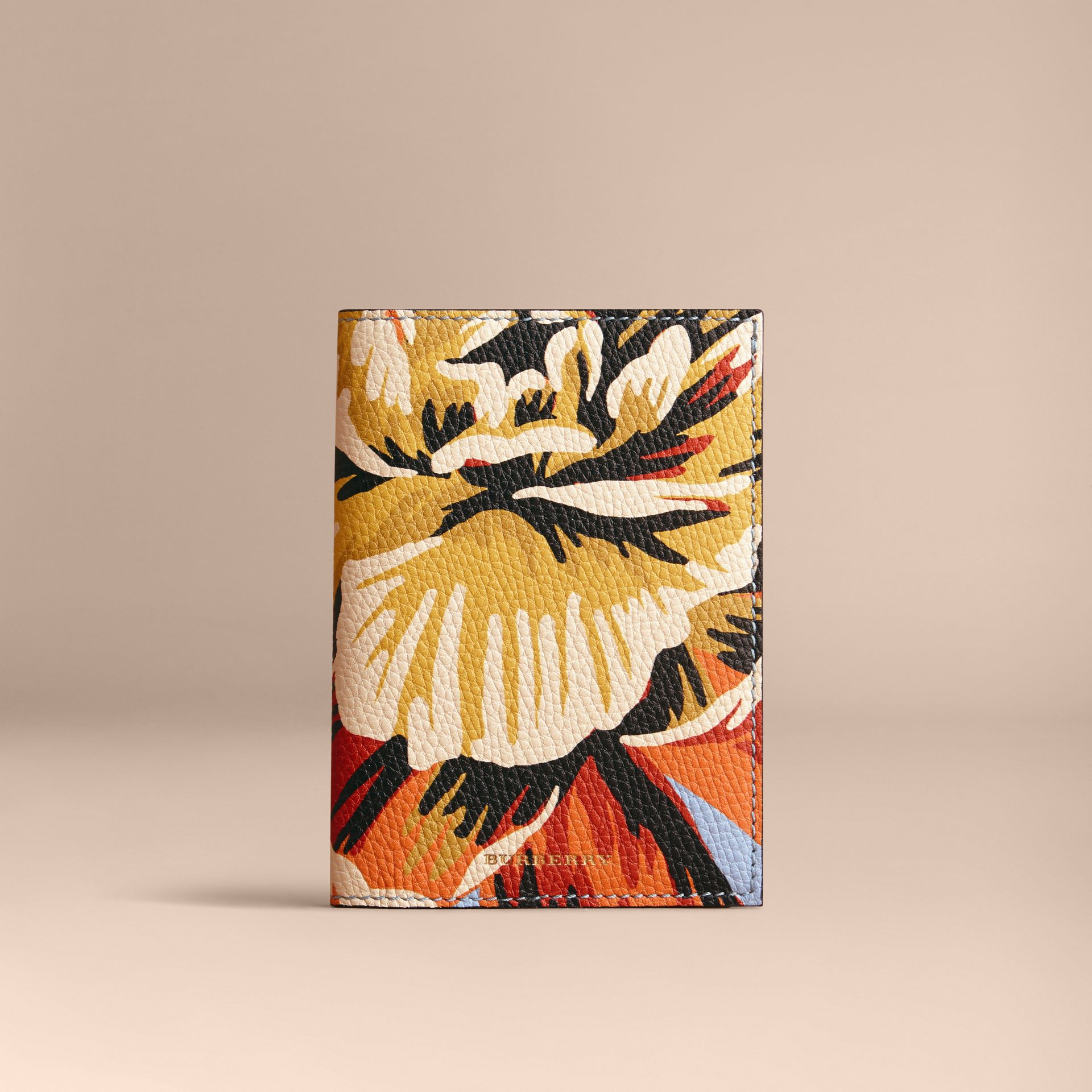 Peony Rose Print Leather Passport Cover in Pale Blue/vibrant Orange | Burberry - gallery image 5