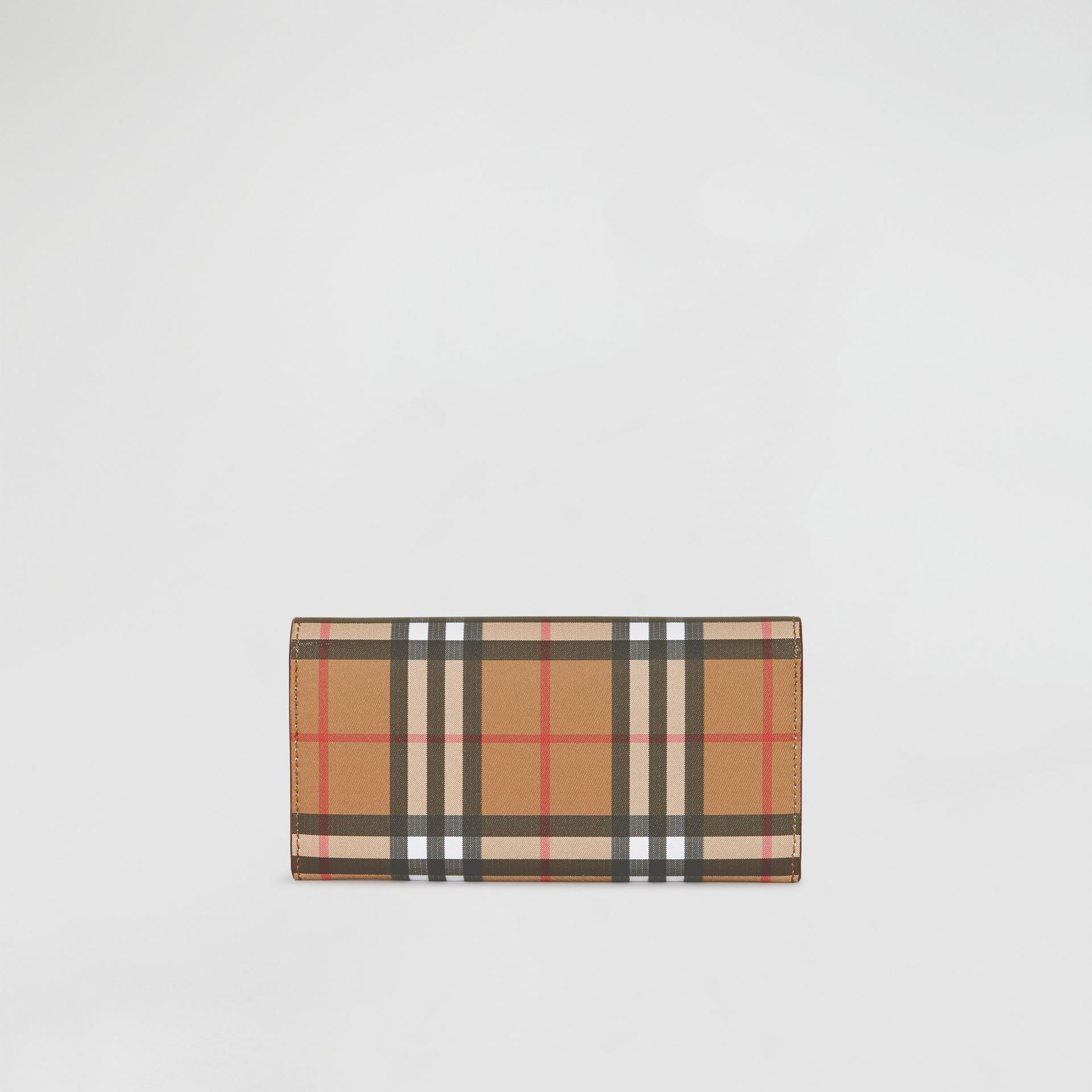 Vintage Check and Leather Continental Wallet in Crimson - Women | Burberry Australia - gallery image 4