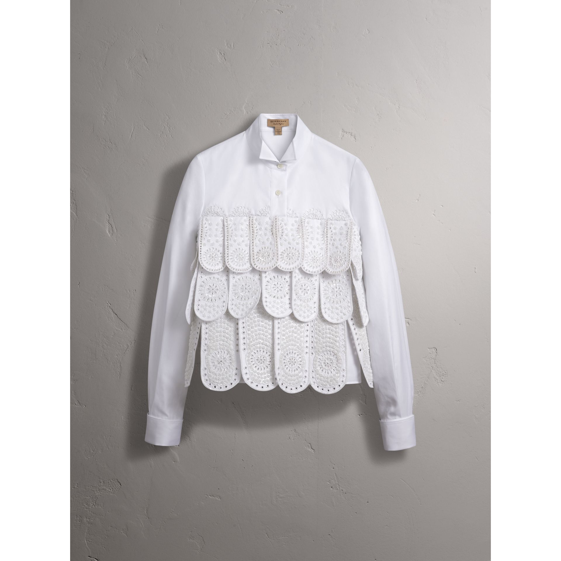 Scalloped Tier Embellished Cotton Shirt - Women | Burberry - gallery image 4