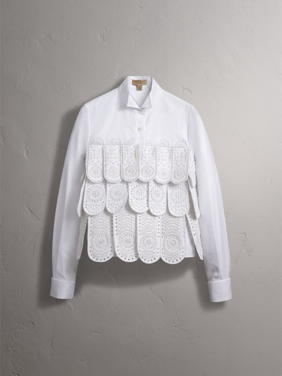 Scalloped Tier Embellished Cotton Shirt - Women | Burberry - cell image 3