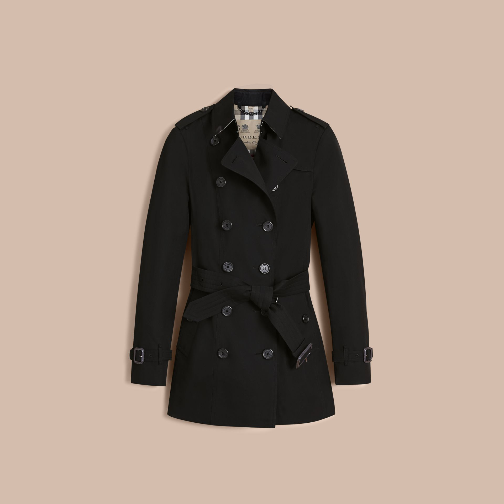 The Sandringham – Short Heritage Trench Coat in Black - Women | Burberry - gallery image 4