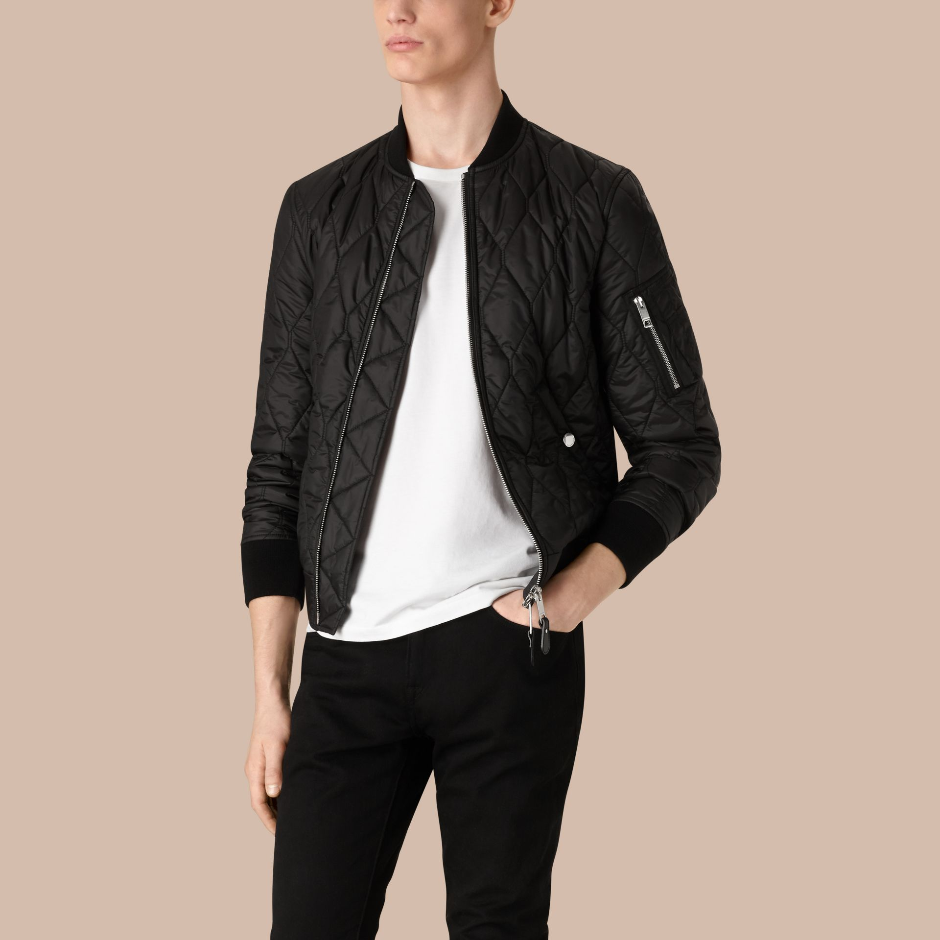 Black Lightweight Quilted Bomber Jacket - gallery image 3