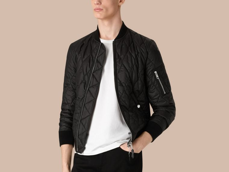 Lightweight Quilted Bomber Jacket in Black - cell image 2