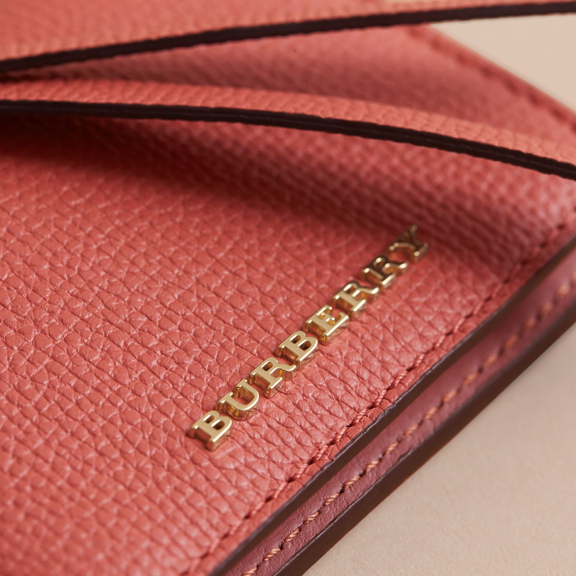 Leather and Haymarket Check ID Card Case Charm in Cinnamon Red/multi - Women | Burberry - gallery image 4