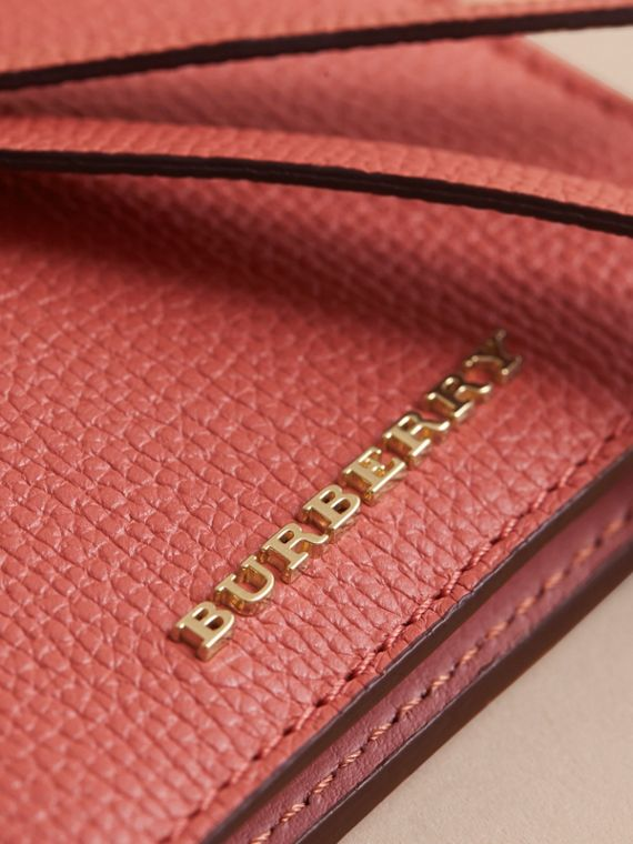 Leather and Haymarket Check ID Card Case Charm in Cinnamon Red/multi - Women | Burberry - cell image 3