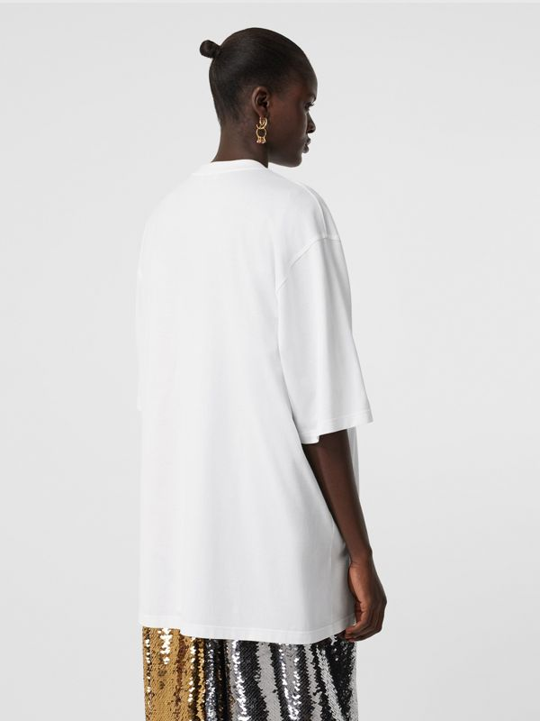 Cut-out Detail Montage Print Cotton Oversized T-shirt in Optic White - Women | Burberry United States - cell image 2