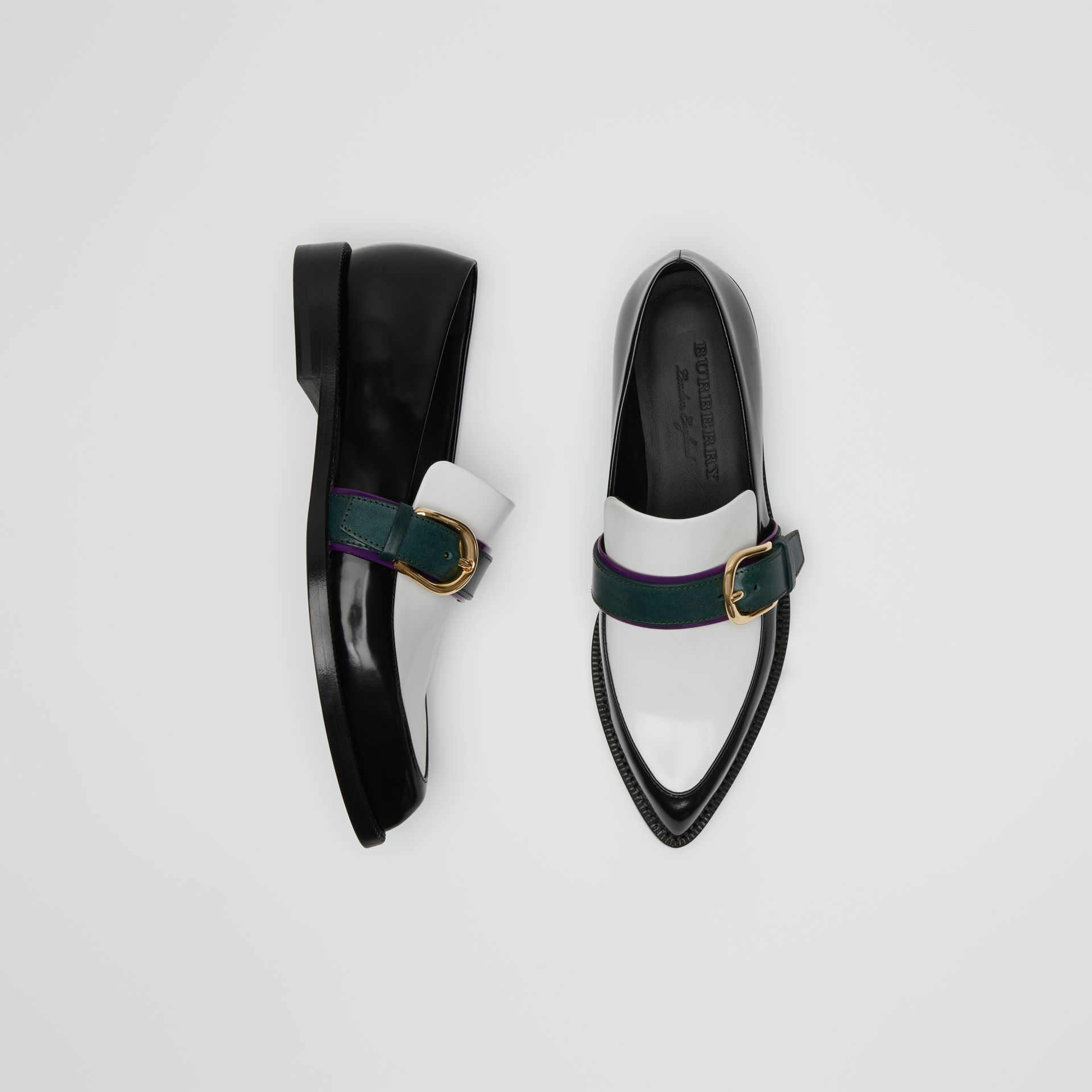 Colour Block Leather Monk Shoes in Black - Women | Burberry Australia - gallery image 4