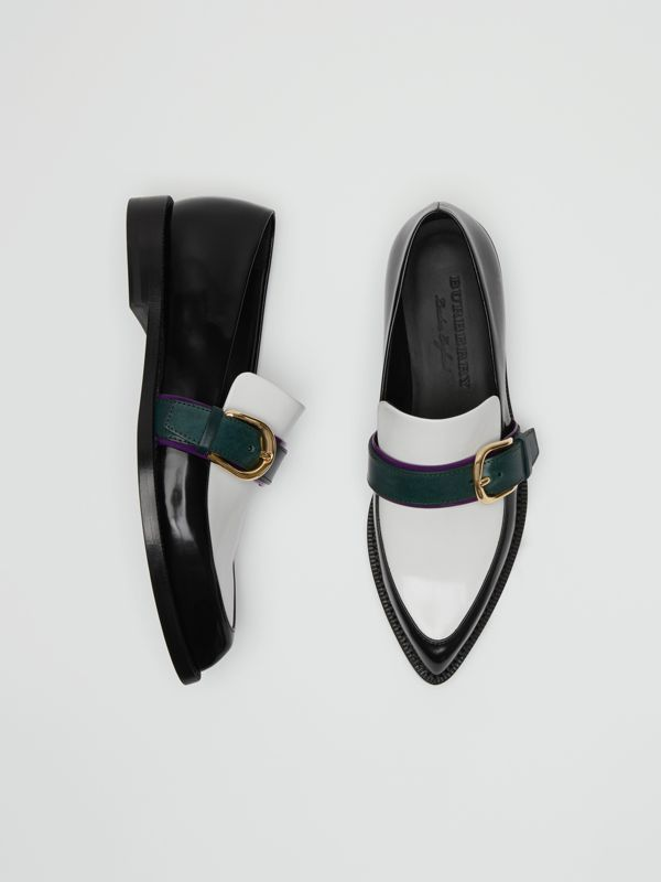 Colour Block Leather Monk Shoes in Black - Women | Burberry Canada - cell image 3