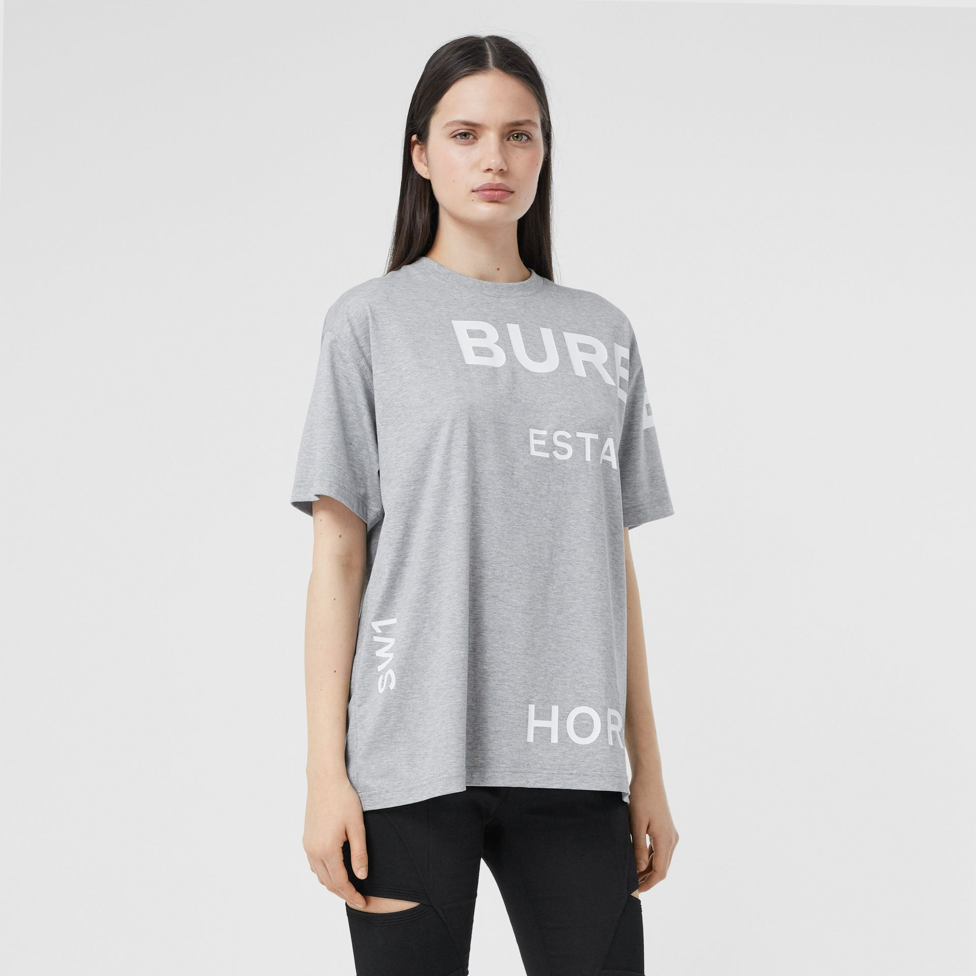 Horseferry Print Cotton Oversized T-shirt in Pale Grey Melange - Women | Burberry - gallery image 4
