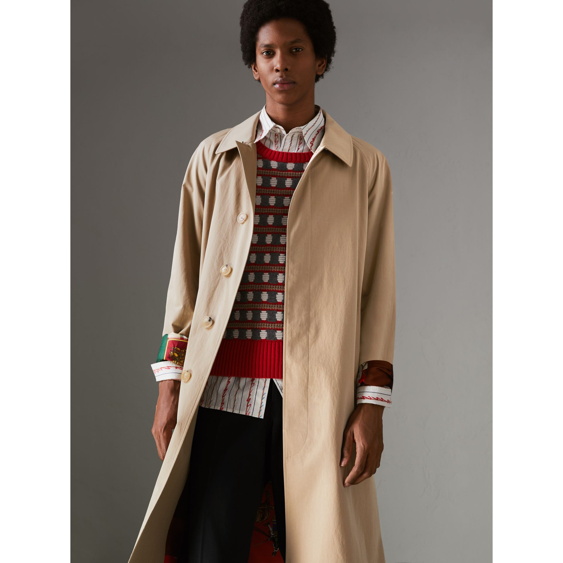 Archive-print-lined Tropical Gabardine Car Coat in Camel - Men | Burberry Singapore - gallery image 5
