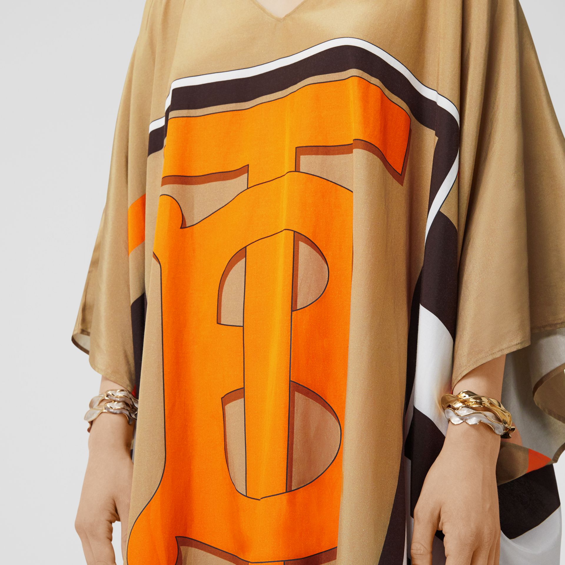 Monogram Motif Print Silk Cotton Kaftan in Archive Beige | Burberry United Kingdom - gallery image 3