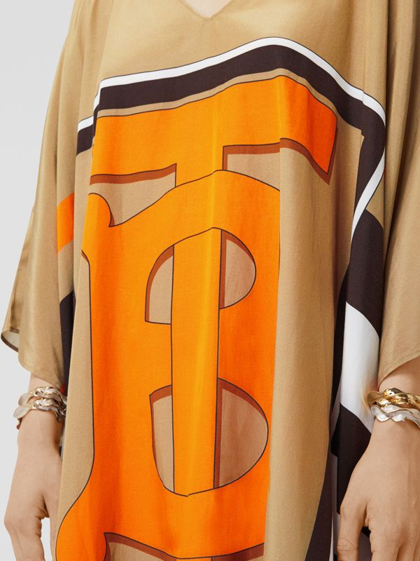 Monogram Motif Print Silk Cotton Kaftan in Archive Beige | Burberry - cell image 3