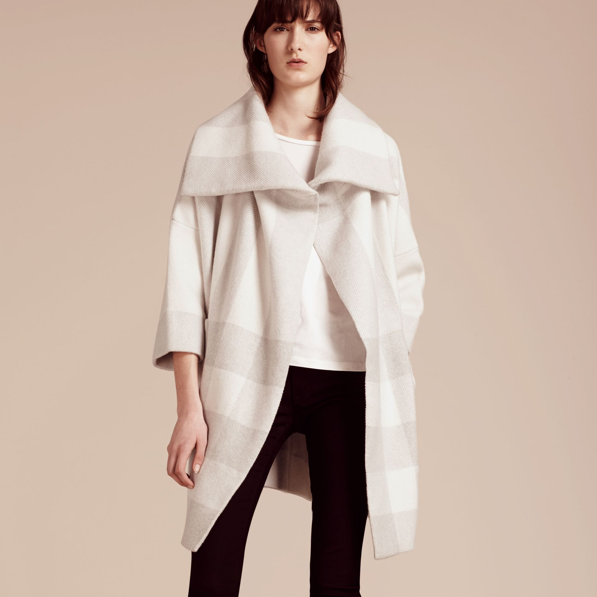 Natural white Oversize Stretch Wool Cashmere Wide Collar Coat Natural White - gallery image 7