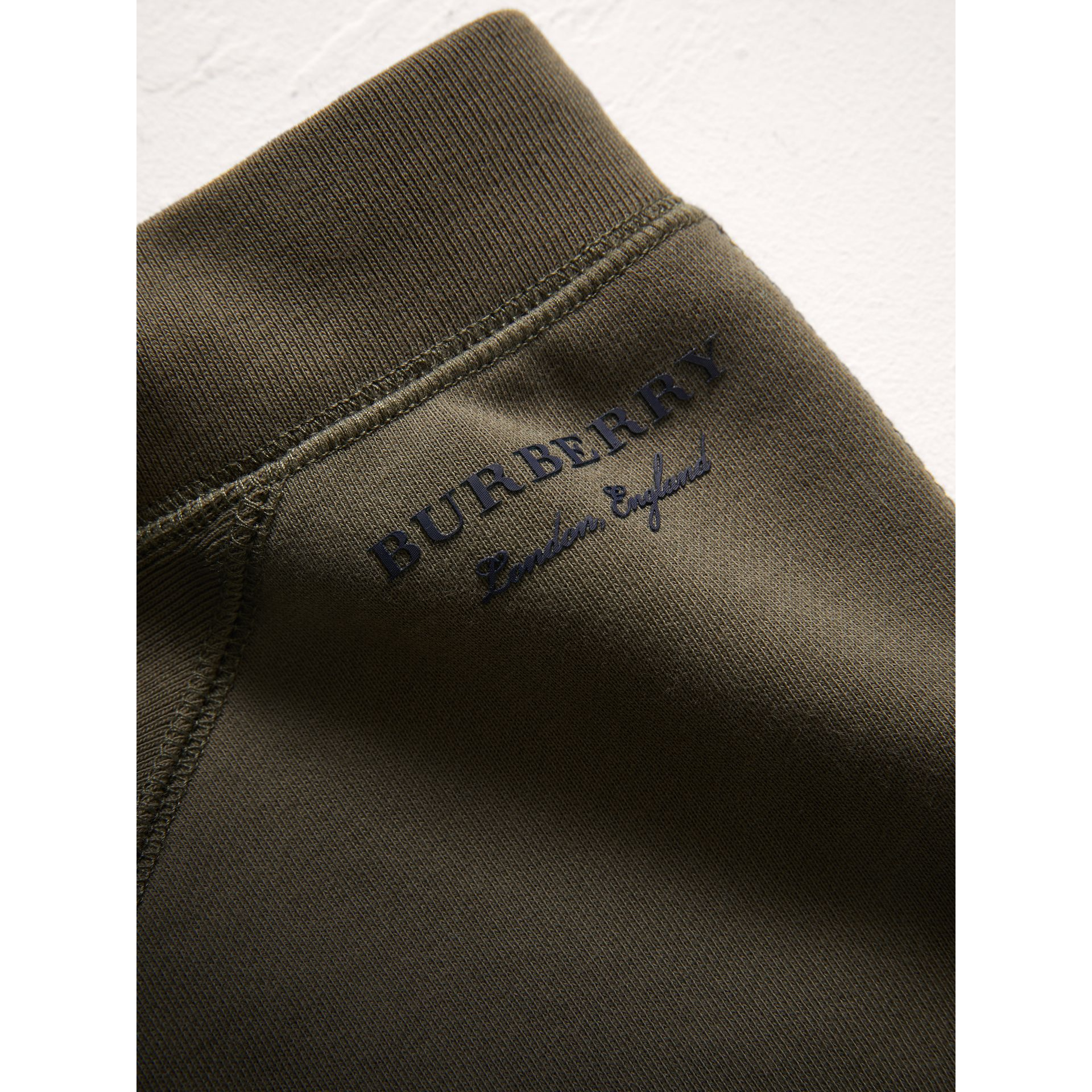 Panelled Cotton Jersey Sweatpants in Olive - Boy | Burberry - gallery image 1