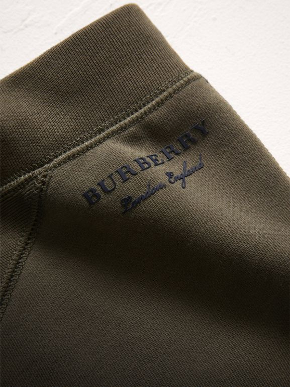 Panelled Cotton Jersey Sweatpants in Olive | Burberry - cell image 1