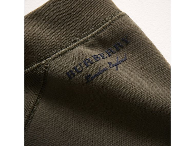 Panelled Cotton Jersey Sweatpants in Olive - Boy | Burberry - cell image 1