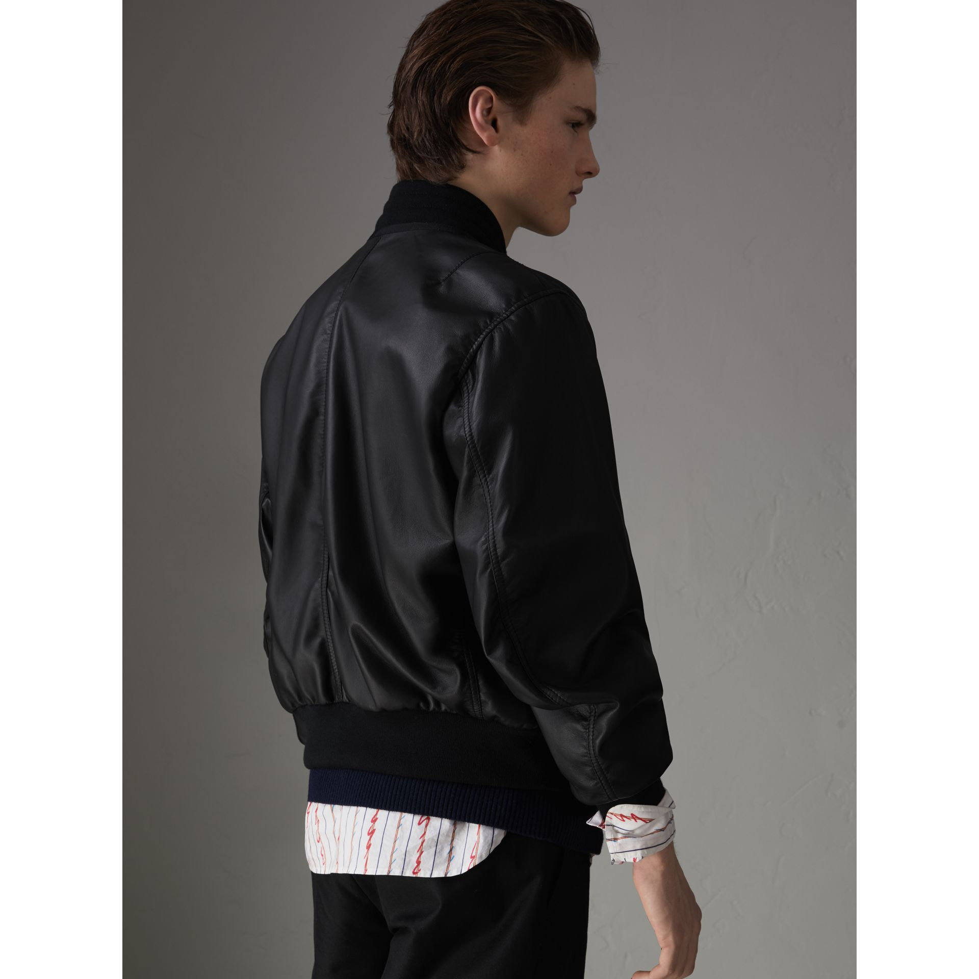 Lambskin Bomber Jacket in Black - Men | Burberry - gallery image 2