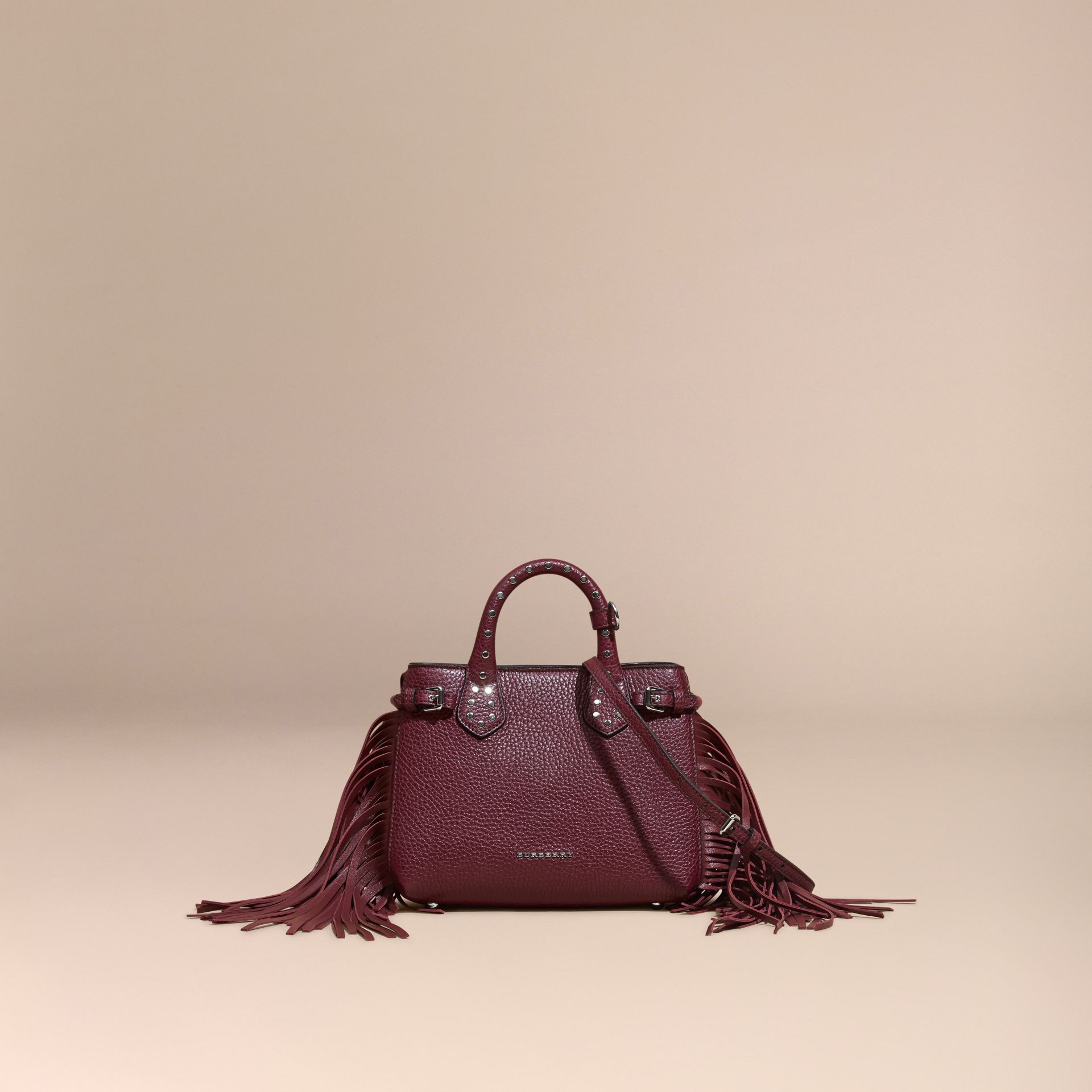 Dark damson The Baby Banner in Fringed Grainy Leather Dark Damson - gallery image 8