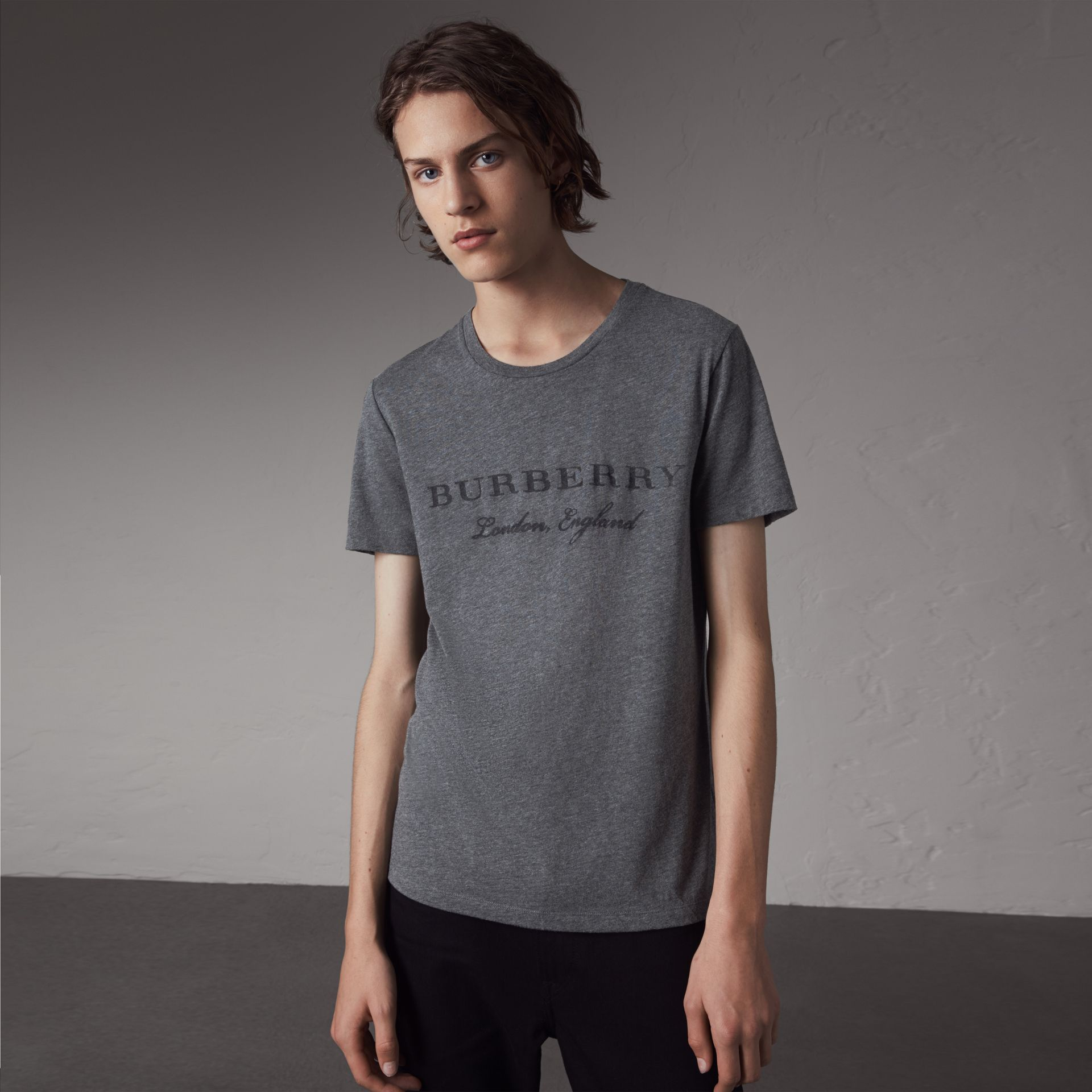 Devoré Cotton Jersey T-shirt in Mid Grey Melange - Men | Burberry - gallery image 0