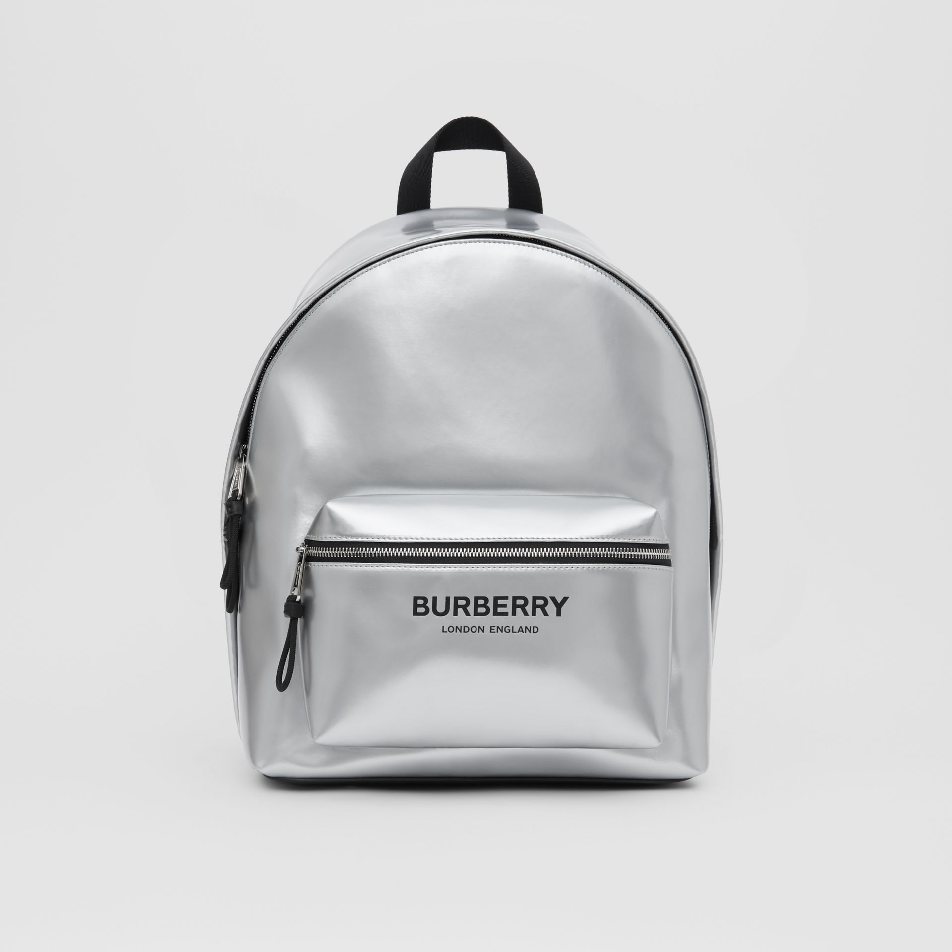 Metallic Coated Canvas Backpack in Silver   Burberry United States - gallery image 0