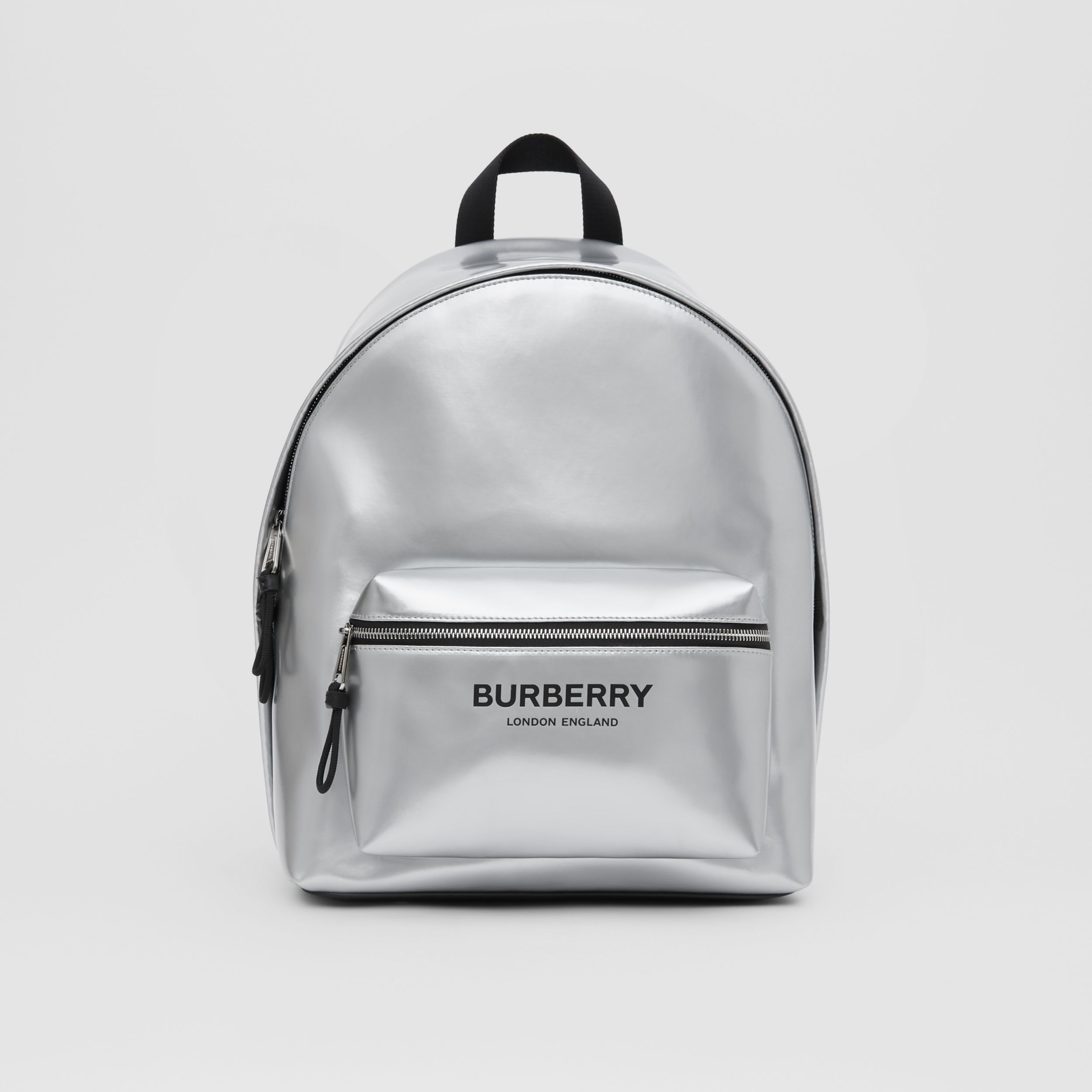 Metallic Coated Canvas Backpack in Silver | Burberry United Kingdom - 1