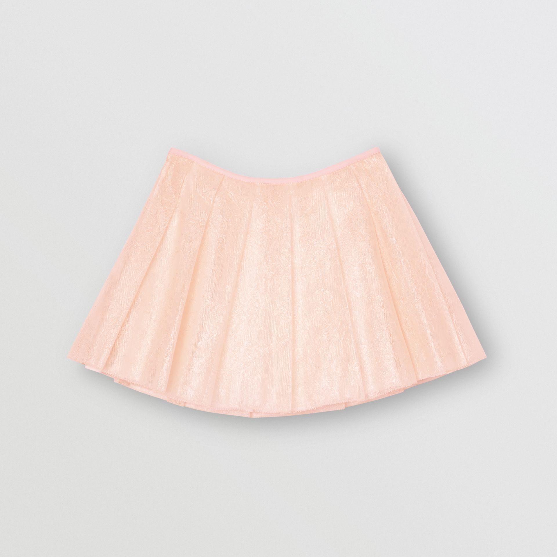 Pleated Laminated Lace Skirt in Pale Pink | Burberry - gallery image 3