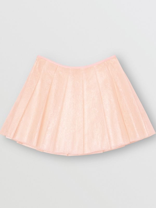 Pleated Laminated Lace Skirt in Pale Pink | Burberry - cell image 3