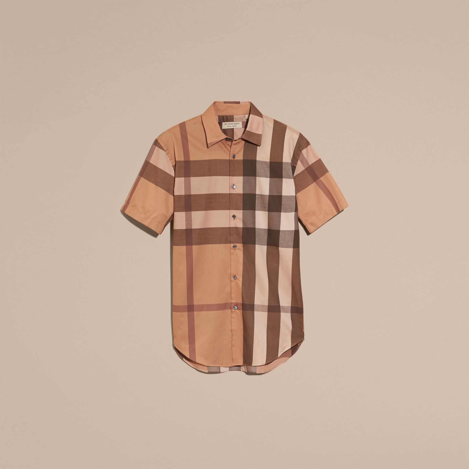 Dark camel Short-sleeved Check Cotton Shirt Dark Camel - gallery image 4