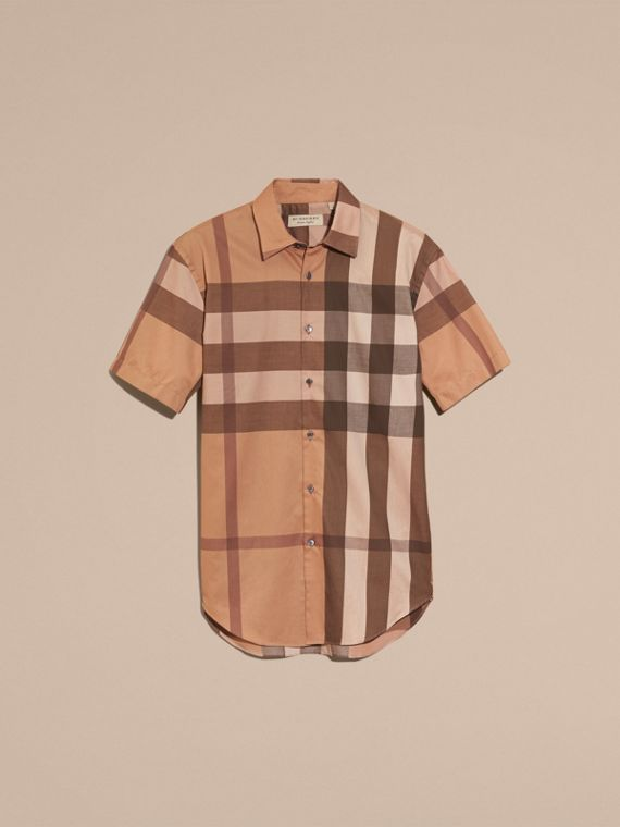 Dark camel Short-sleeved Check Cotton Shirt Dark Camel - cell image 3