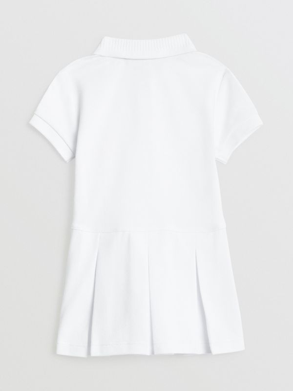 EKD Logo Cotton Polo Dress in White - Children | Burberry - cell image 3
