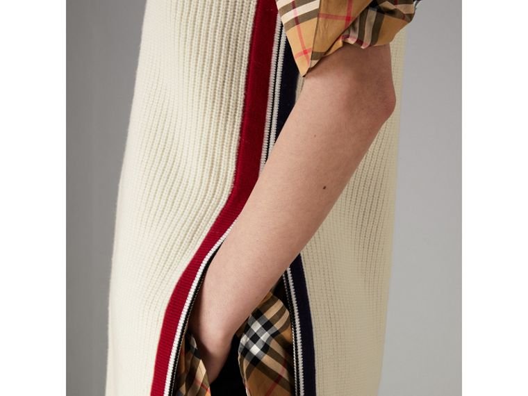 Rib Knit Wool Cashmere Vest in Natural White - Women | Burberry - cell image 1