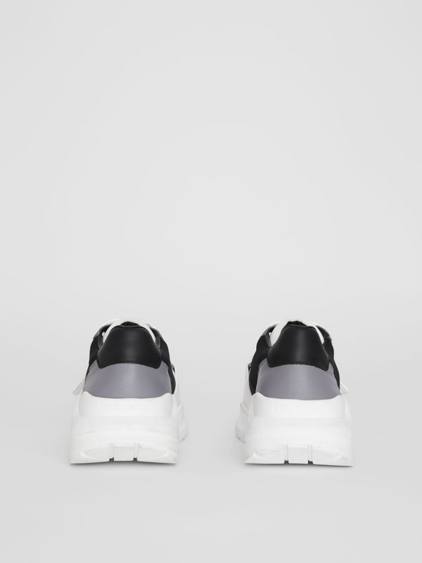Suede, Neoprene and Leather Sneakers in Black - Women | Burberry - cell image 3
