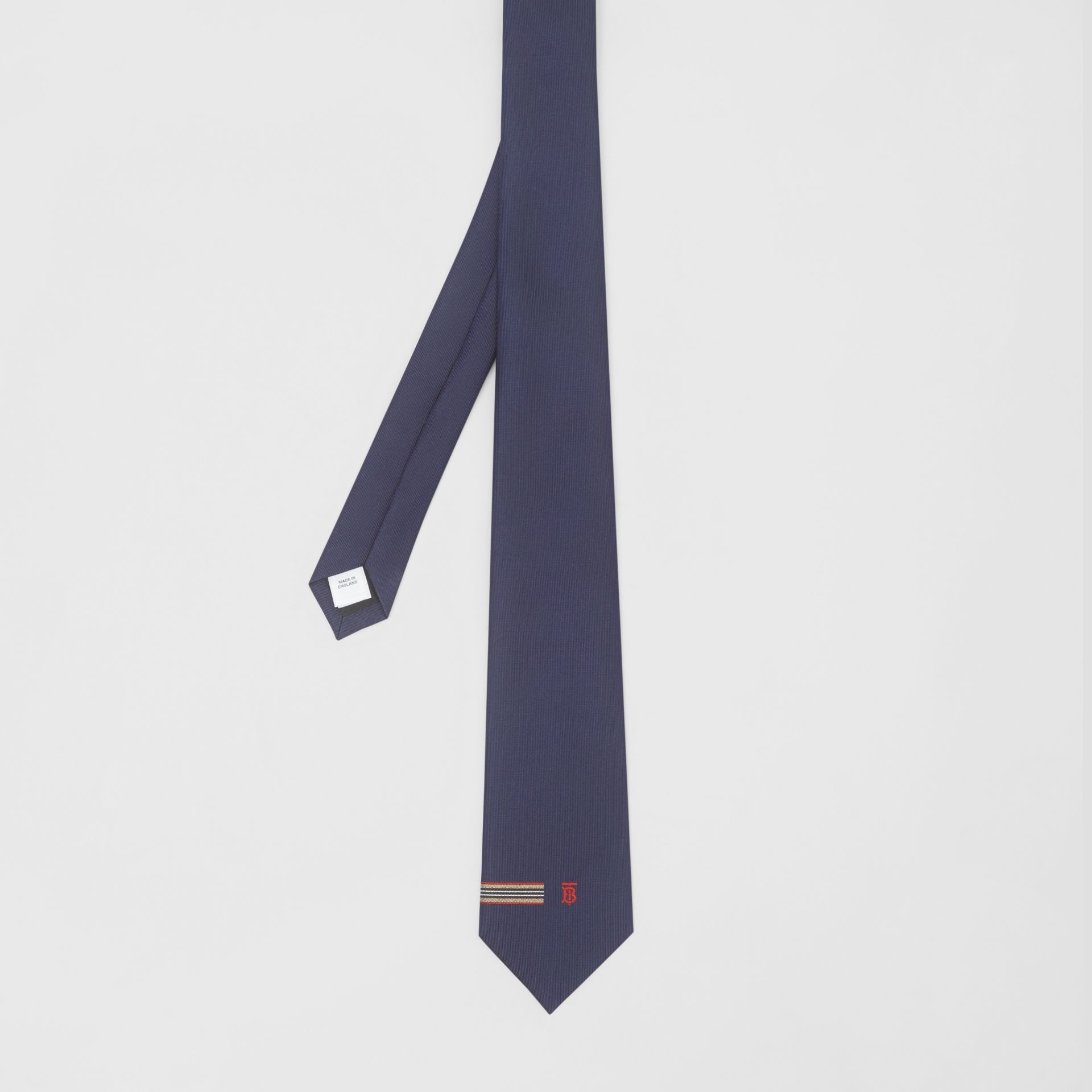 Classic Cut Icon Stripe and Monogram Motif Silk Tie in Navy - Men | Burberry United Kingdom - gallery image 3