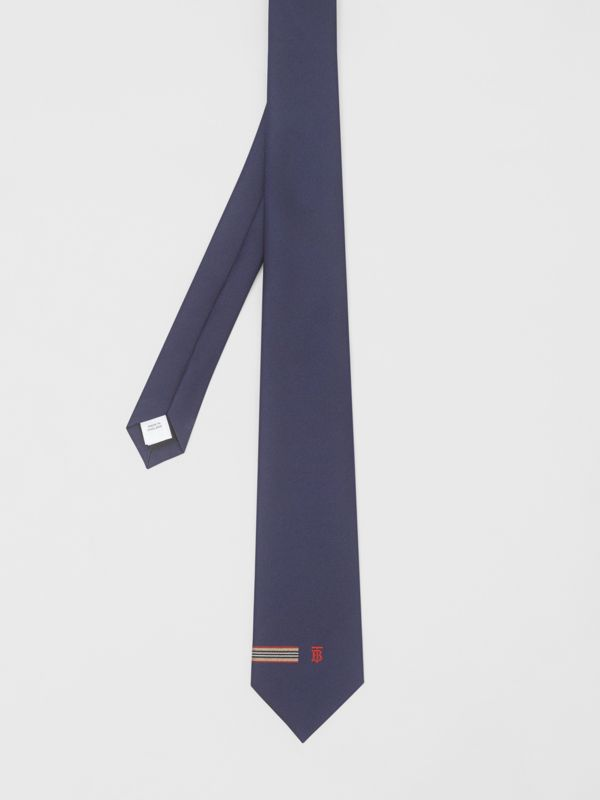 Classic Cut Icon Stripe and Monogram Motif Silk Tie in Navy - Men | Burberry - cell image 3