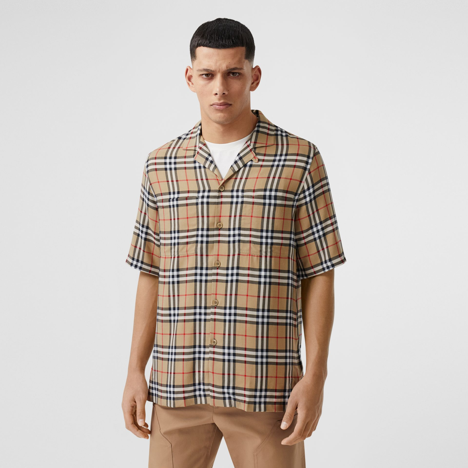 Short-sleeve Vintage Check Twill Shirt in Archive Beige - Men | Burberry United Kingdom - gallery image 0