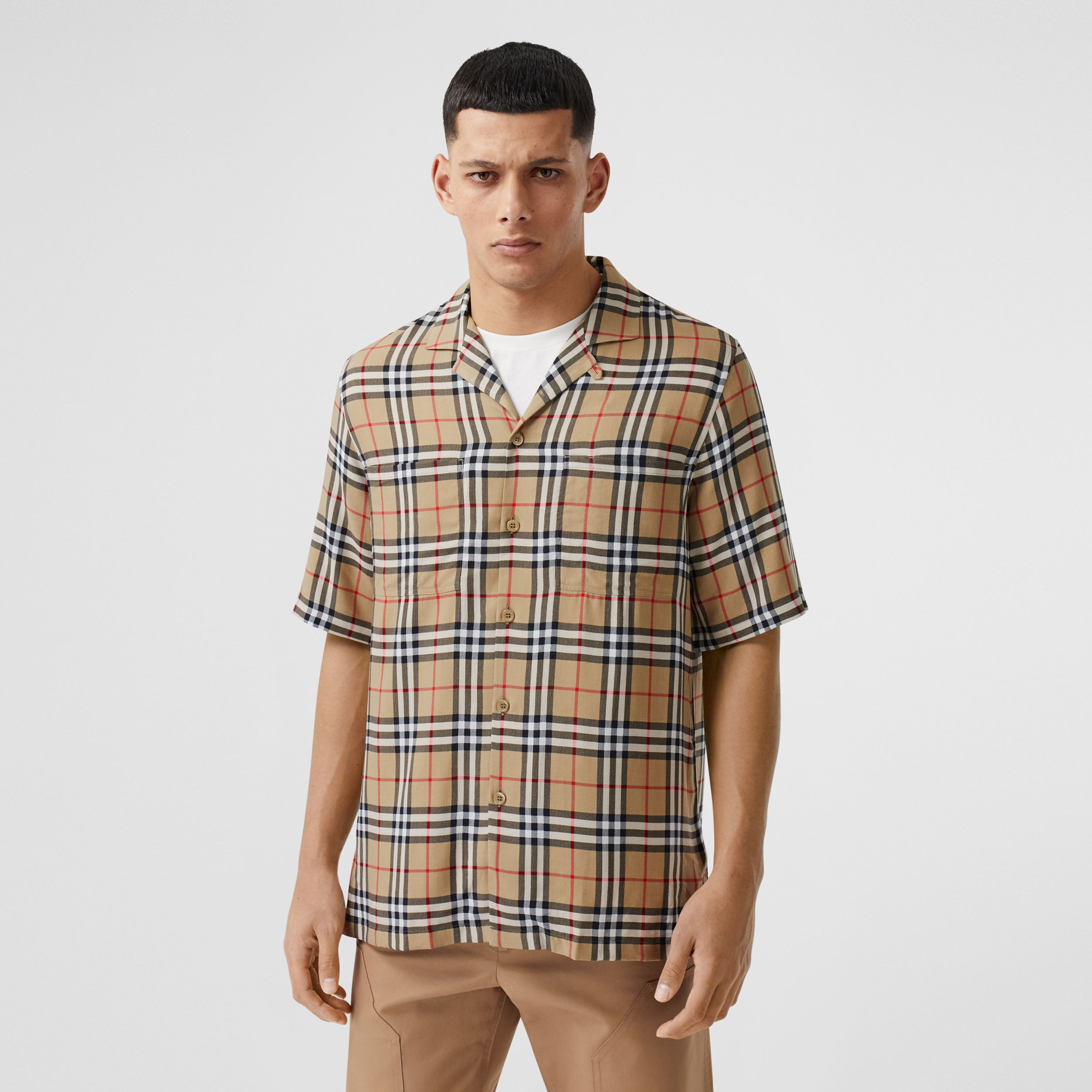 Short-sleeve Vintage Check Twill Shirt in Archive Beige - Men | Burberry - 1