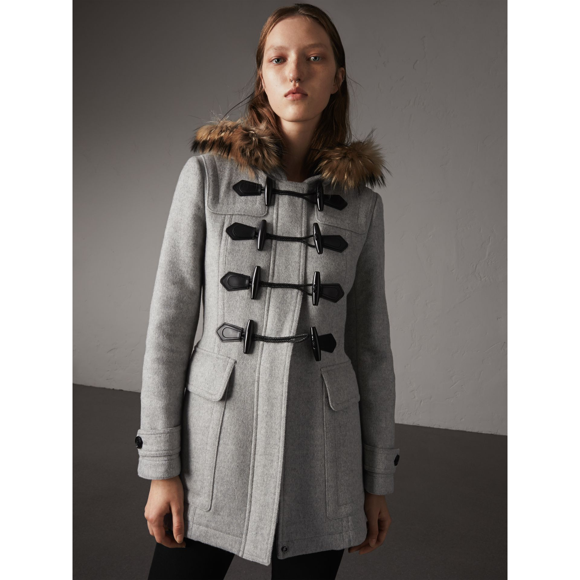 Wool Duffle Coat with Detachable Fur Trim in Light Grey Melange - Women | Burberry - gallery image 7
