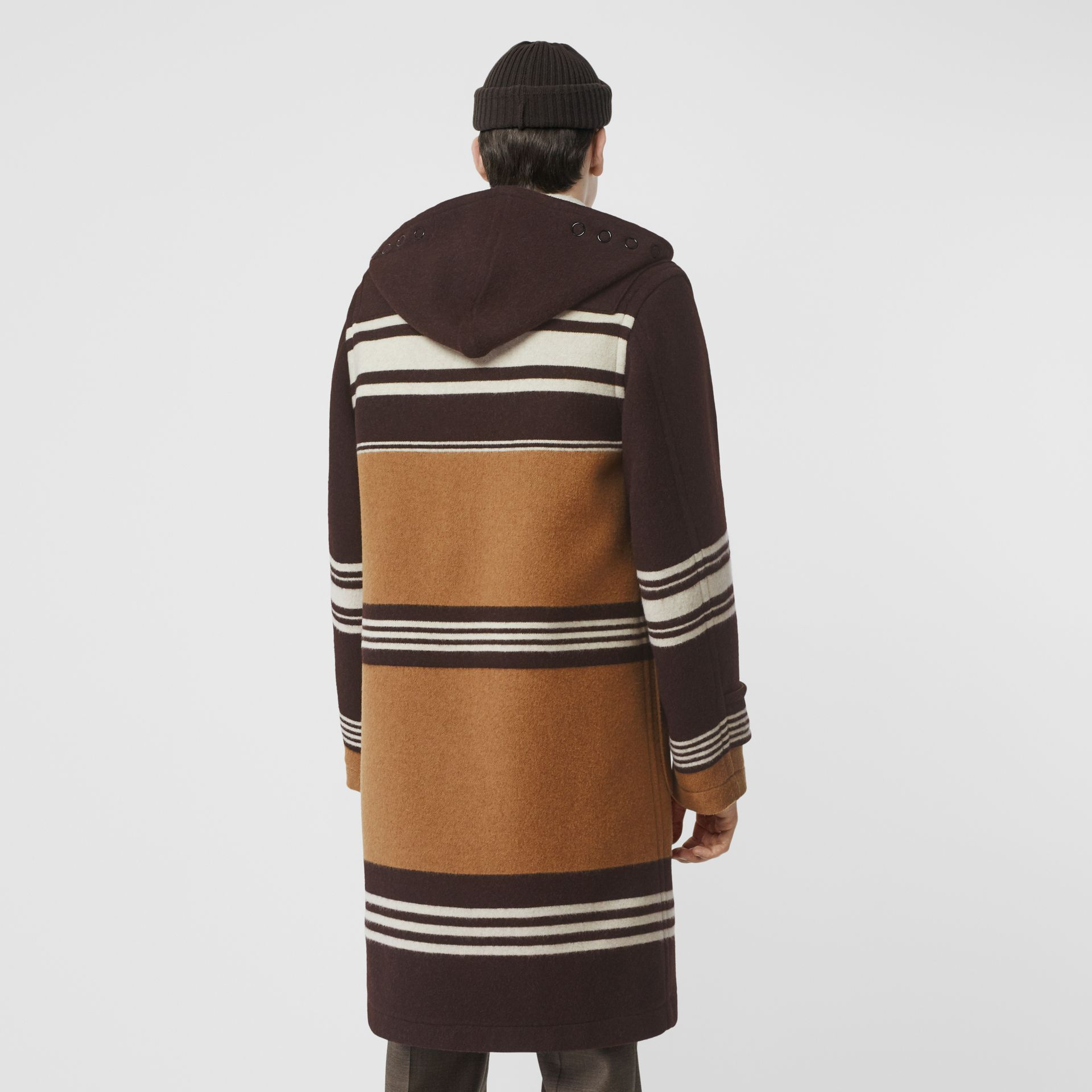 Stripe Detail Wool Duffle Coat in Camel - Men | Burberry - gallery image 1