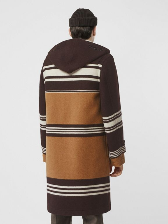 Stripe Detail Wool Duffle Coat in Camel - Men | Burberry - cell image 1