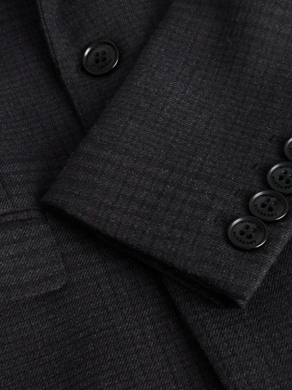 Prince of Wales Check Wool Blazer in Dark Grey | Burberry - cell image 1