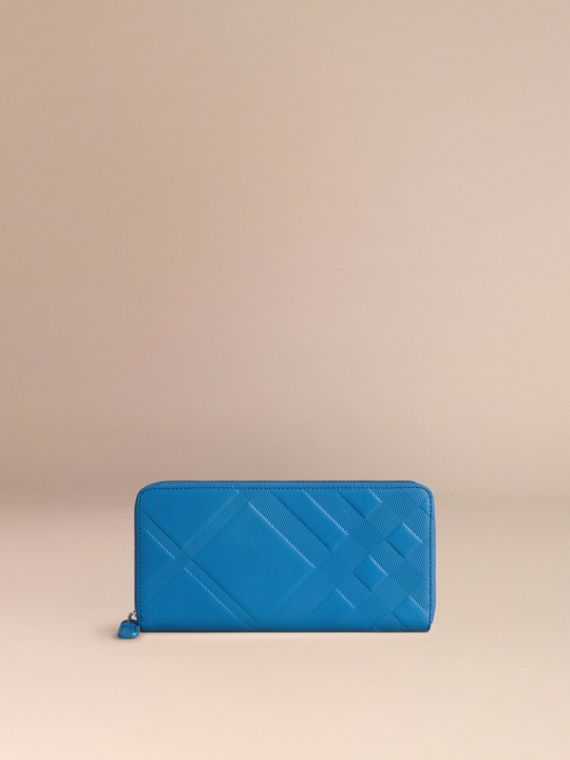 Blue azure Check-embossed Leather Ziparound Wallet Blue Azure - cell image 2